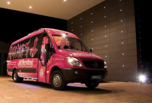 disco bus rosa de 21 plazas